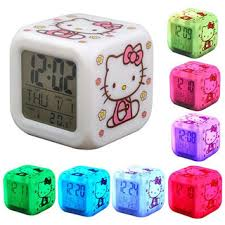 Hello Kitty Digital Alarm Clock with changeable 7 background color