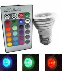 led light bulb with 16 colors changing and wireless remote control 3w e27. Black Bedroom Furniture Sets. Home Design Ideas
